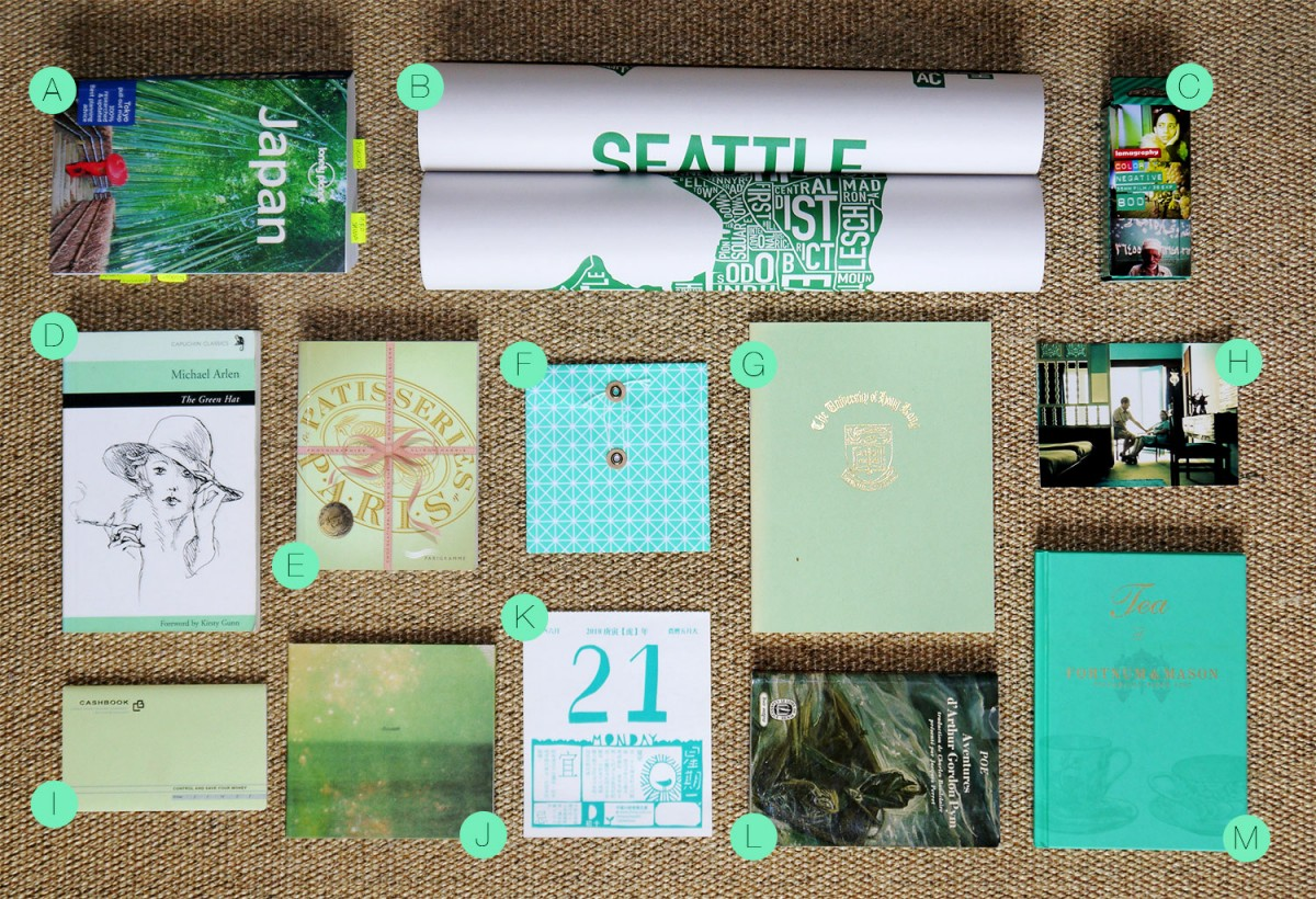 Wapapum green insparation & moodboard: books, notebooks, photo, guides, poster, music...
