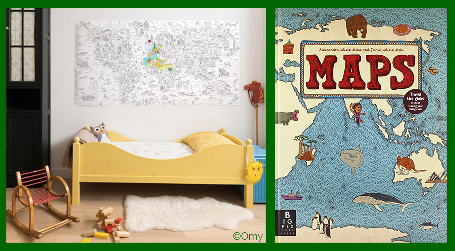 Maps for kid: coloring roll and Maps book
