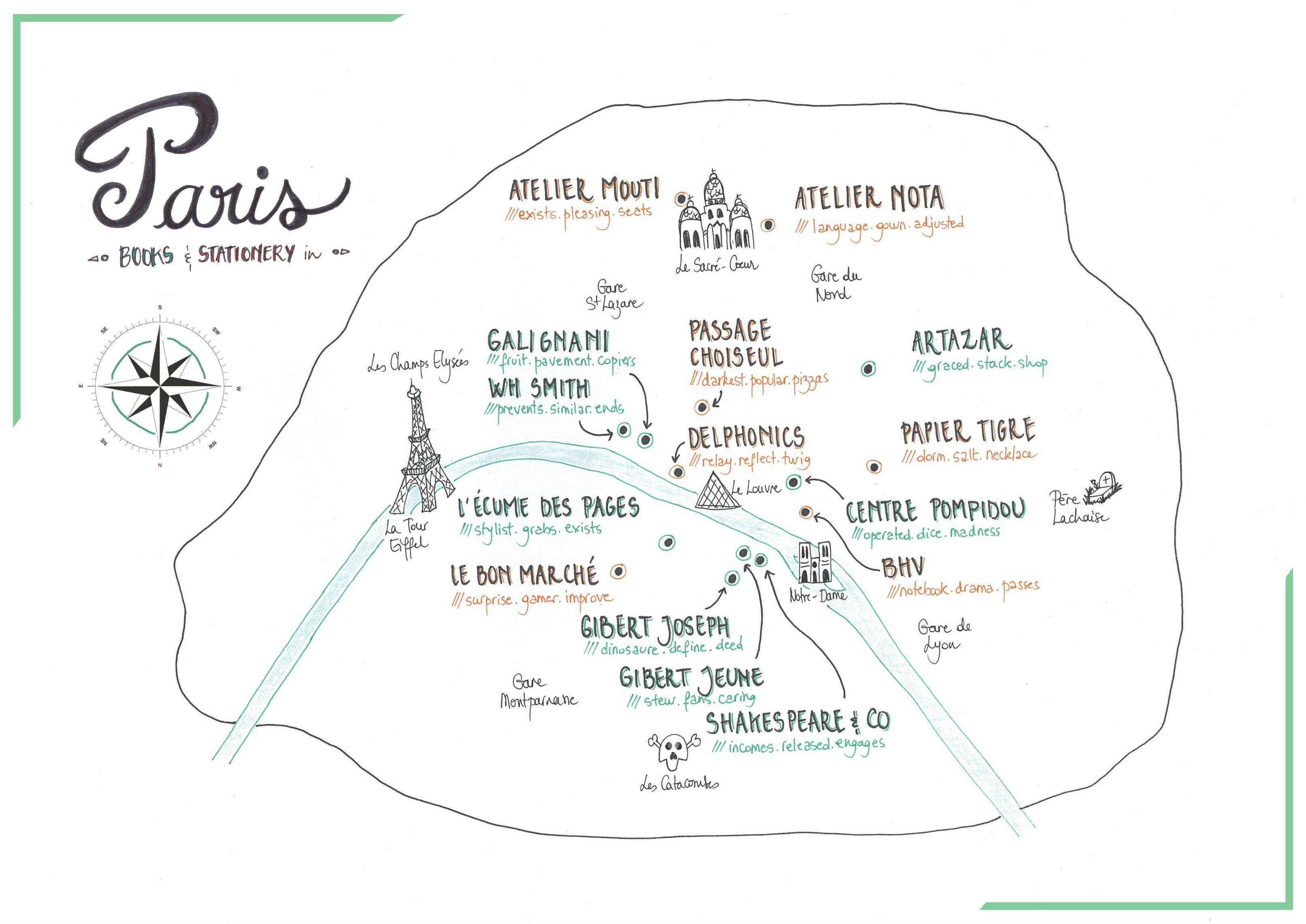 Books and Stationery in Paris, map by Wapapum