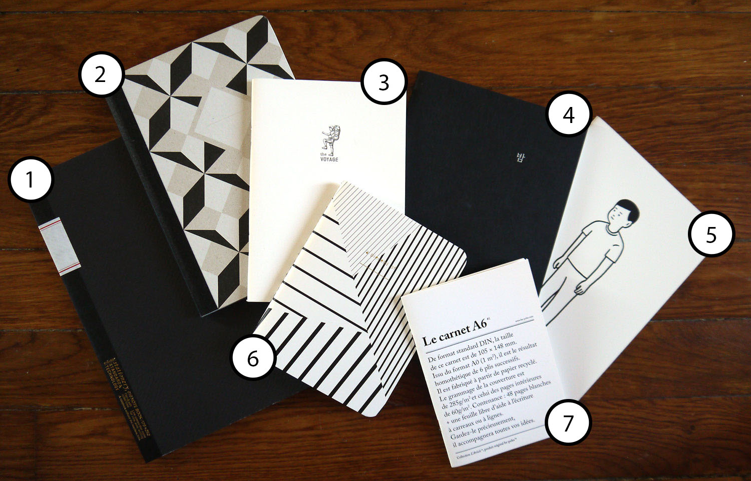 Selection of black and white notebooks